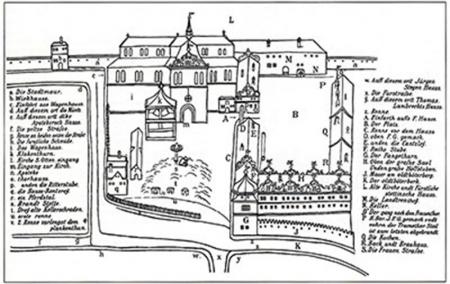 Zamek z lat 1575–1577  Anonimowy rysunek piórkiem z 1607 roku, przerys rysunku A. Stuberaucha z początku XX wieku  MNS/A.Foto/14524