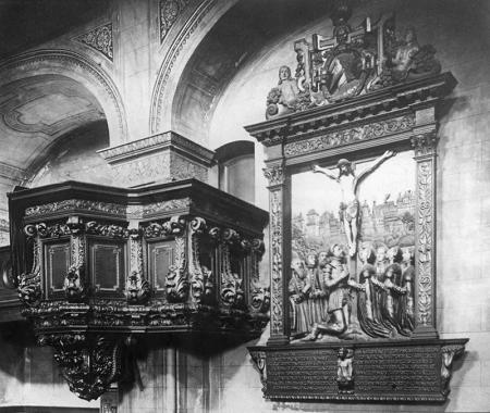 Kościół zamkowy – wnętrze  Epitafium ks. Bogusława X i ambona, fot. 1909 MNS/A.Foto/14526