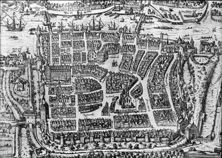 Szczecin ok. 1590  Fragment akwaforty z 1590 roku drukowanej w IV tomie dzieł o miastach Georga Brauna i Franza Hogenberga MNS/A.Foto/5053