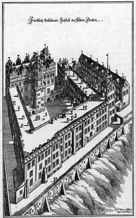 Zamek książęcy w 1652 roku  H. von Osten / M. Merian Mł., rycina akwafortowo-miedziorytowa MNS/A.Foto/5275
