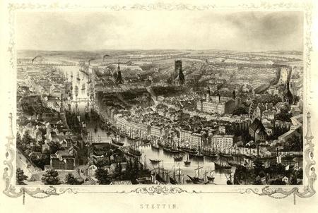 Panorama miasta z lotu ptaka od strony północno-wschodniej  Adolph Eltzner, wg rysunku Williama Frencha, ok. 1855, staloryt, wyd. A.H. Payne w Dreźnie i Lipsku MNS/A.Foto/5093