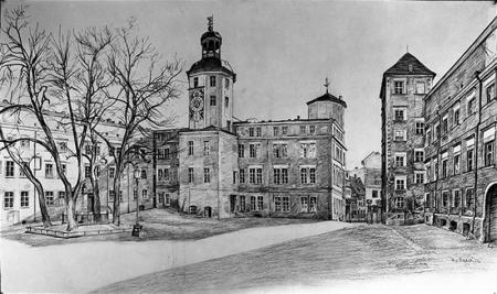 Dziedziniec zamkowy  U. Lewin, rysunek, 1938 MNS/A.Foto/5299