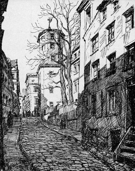 Zamek z fragmentem ul. Kuśnierskiej (od wschodniej)  I. Below-Patzelt, rysunek, ok. 1937 MNS/A.Foto/15898
